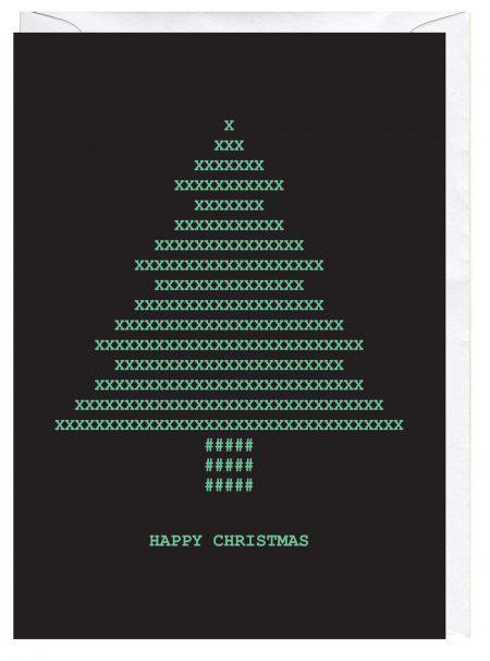 ASCII Christmas Tree Retro Computer Blank Greeting Card