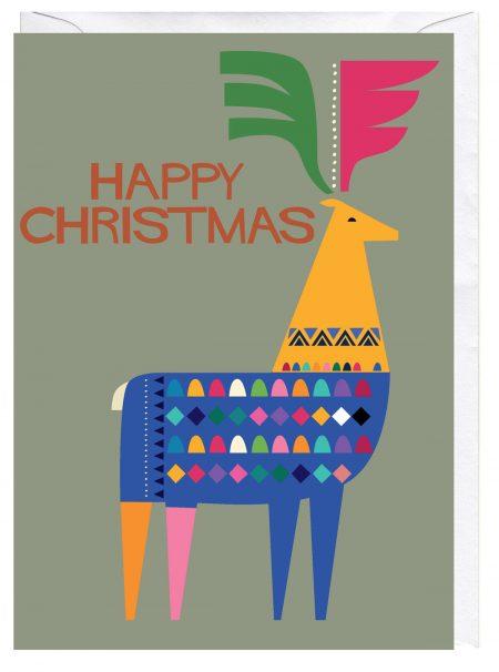 Happy Christmas Reindeer in Jumper Blank Christmas Greeting Card