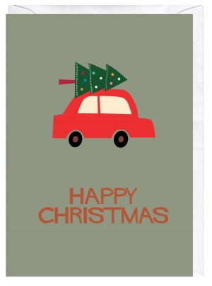 Happy Christmas Tree on Car Roof Blank Greeting Card