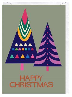 Happy Christmas Trees Blank Greeting Card