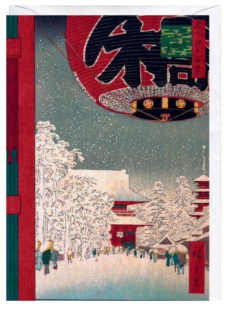 Kinryuzan Temple in Snow Utagawa Hiroshige Japanese Art Blank Greeting Card Japanese woodblock print