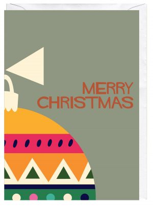 Merry Christmas Bauble Blank Greeting Card