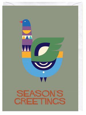 Season's Greetings Bird Blank Greeting Card