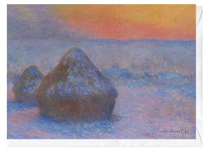 Stacks of Wheat (Sunset Snow Effect) Claude Monet blank Fine Art Greeting Card
