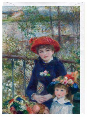 Two Sisters On the Terrace Pierre Auguste Renoir Blank Fine Art Greeting Card