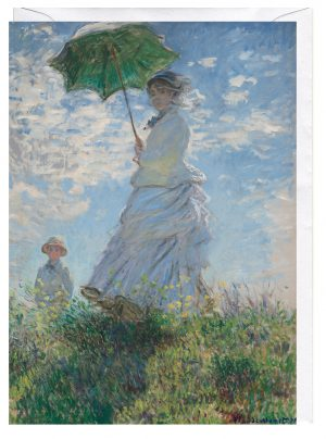 Woman with a Parasol Madame Monet Her Son Claude Monet Greeting Card