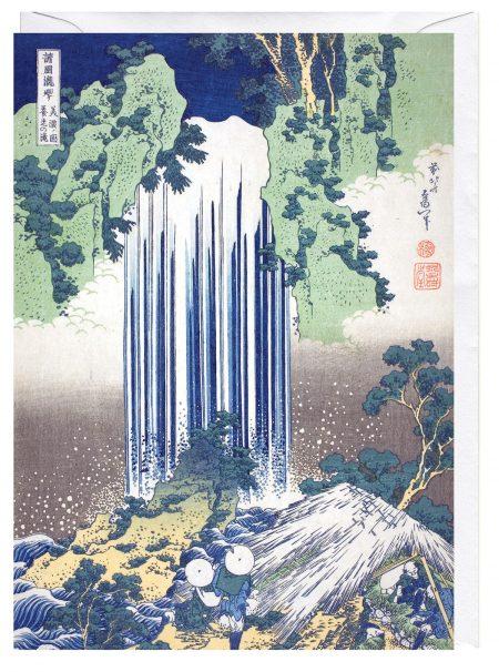 Yoro Waterfall in Mino Province Katsushika Hokusai blank Fine Art Greeting Card
